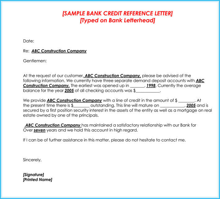 bank credit reference letter example