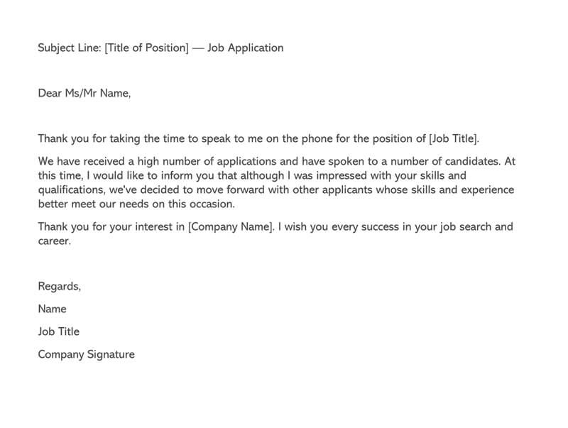 Letter After Job Rejection from www.wordtemplatesonline.net