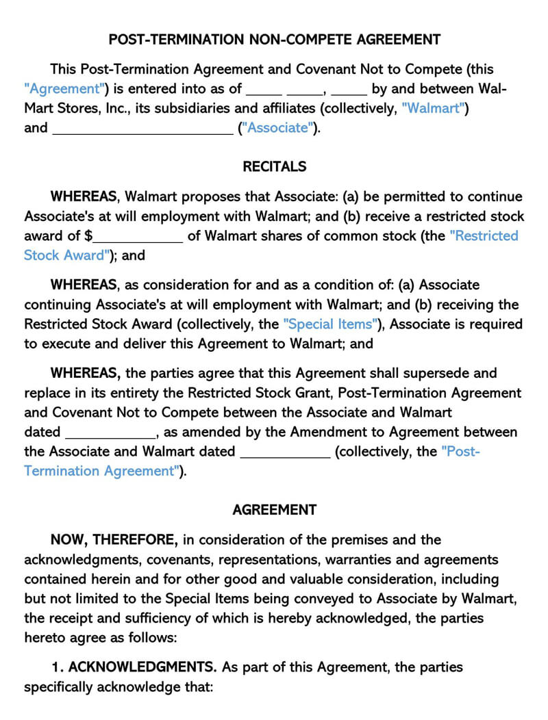 Post-Termination Non-Compete Agreement Template