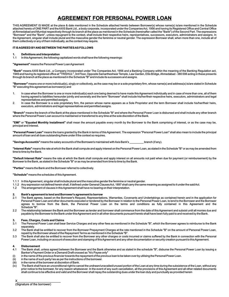 Power Loan Agreement Sample