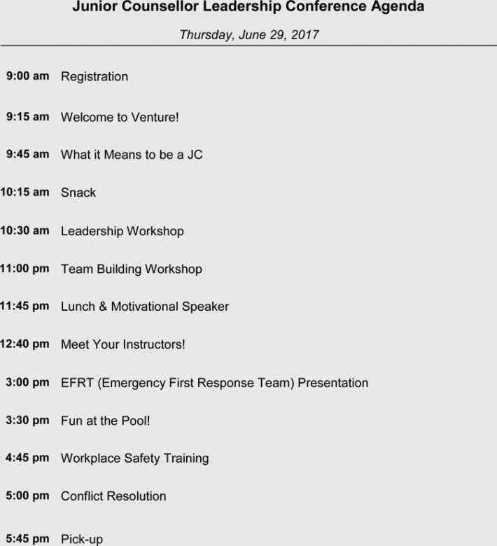 Leadership Conference Meeting Agenda Sample