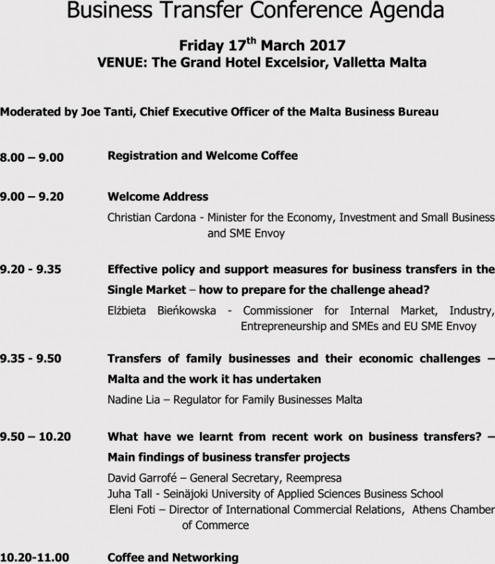 Business Transfer Conference Agenda Sample