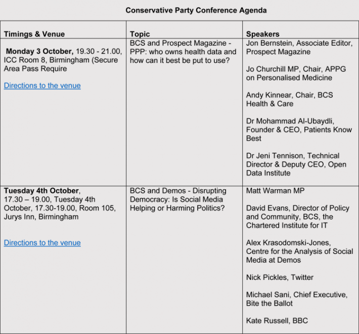 Conservative Party Conference Agenda Format