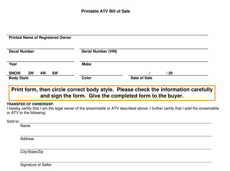 Printable ATV Bill of Sale Form