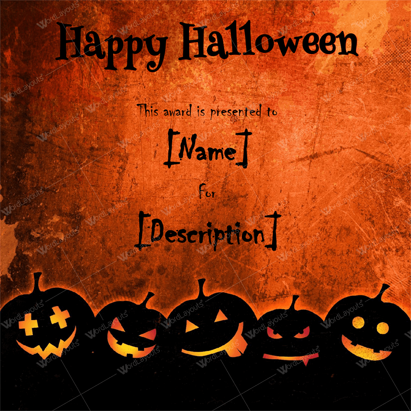 Printable Halloween Award Template for Word