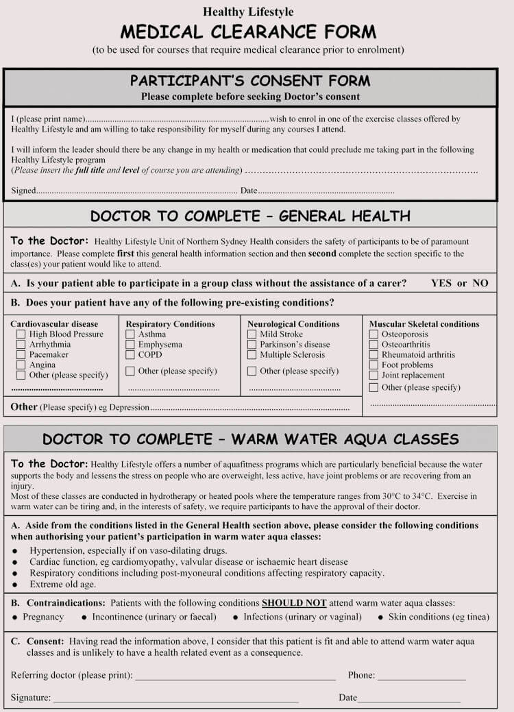 Printable Medical Clearance Form