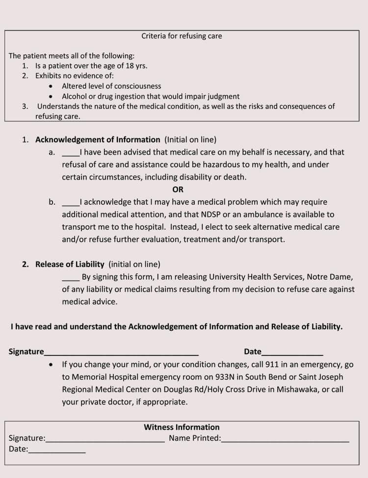 Printabl Sample Against Medical Advice form