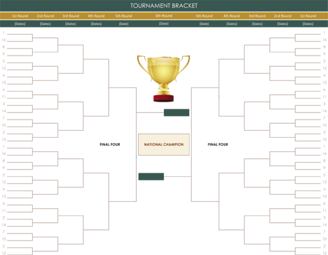 Printable Tournament Brackets for Excel