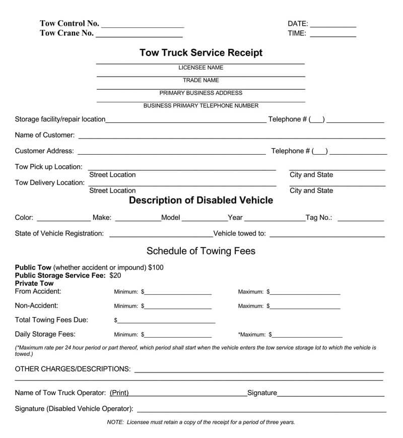 Printable Truck Service Receipt PDF