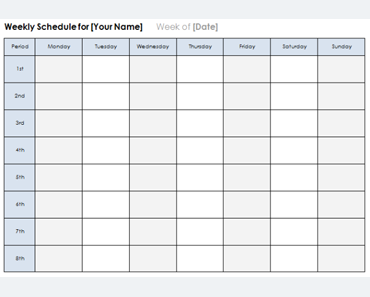 Weekly Calendar Template - Plan Daily or Weekly Tasks