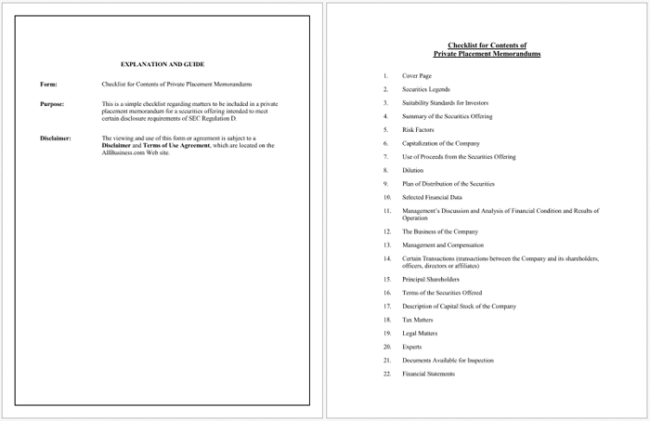 Private Placement Memorandum Templates - Write your own PPM
