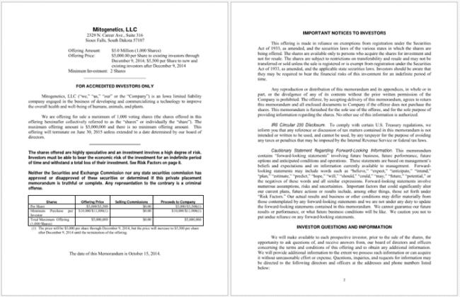 Marvelous Private Placement Memorandum PDF