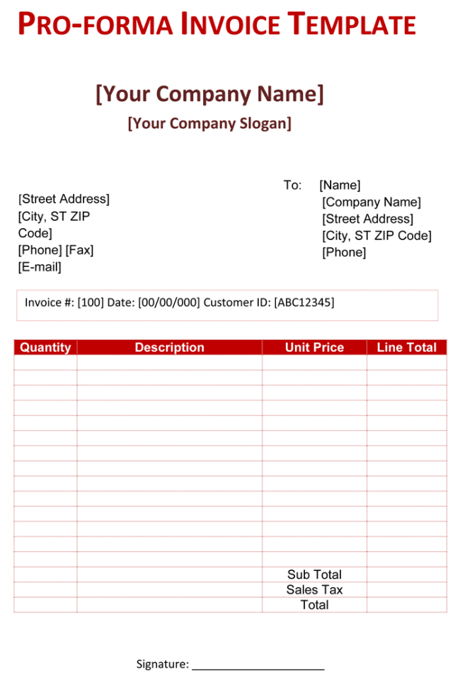 Pro Forma Invoice Template - 5 Free Pro Forma Invoices