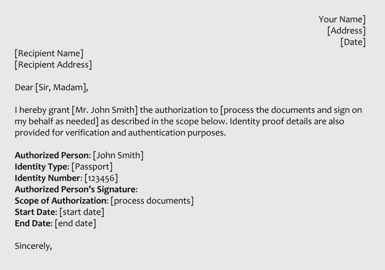 Sample Authorization Letters To Process Documents On Your
