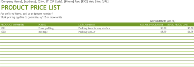 Product Price List Template For Excel®  Price List Template Word