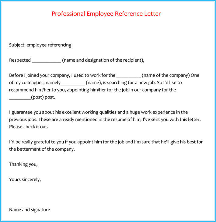 Professional Employee Reference Letter Formats Letters.org  How To Write A Employee Reference Letter