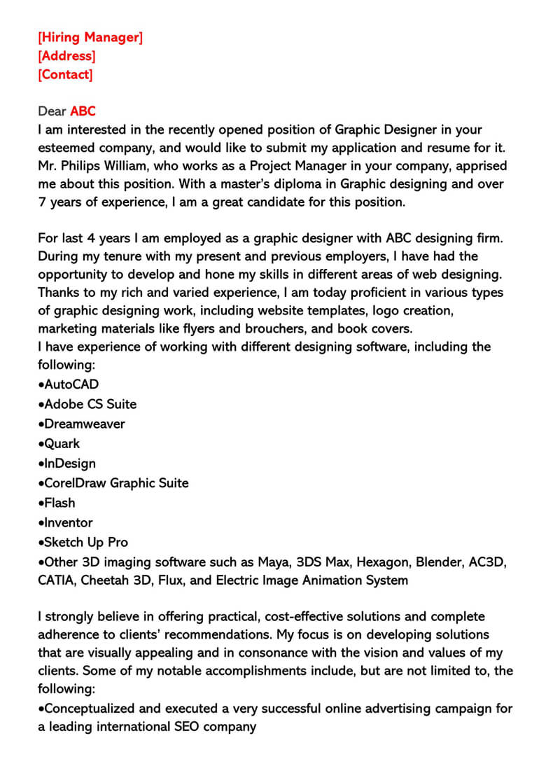 Professional Graphic Designer Cover Letter