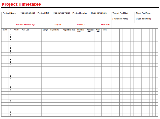 project timeline template for microsoft word