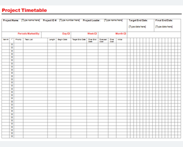 Templates For Microsoft® Word  Project Timetable Template