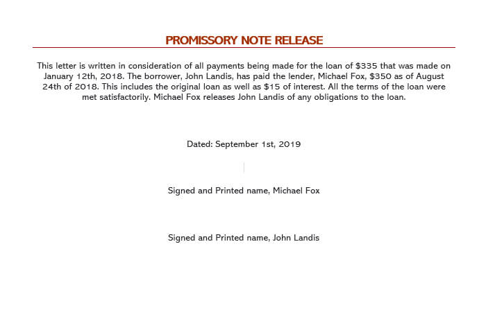 Promissory Note Release Form Sample