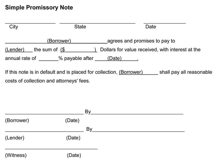 simple promissory note sample