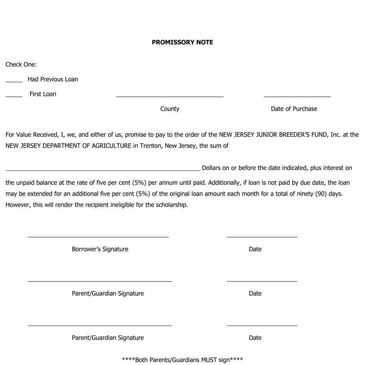 promissory note document