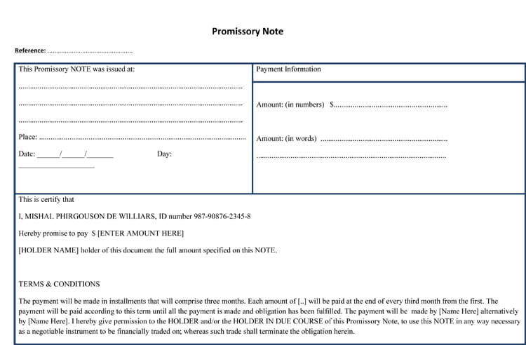 blank promissory note pdf