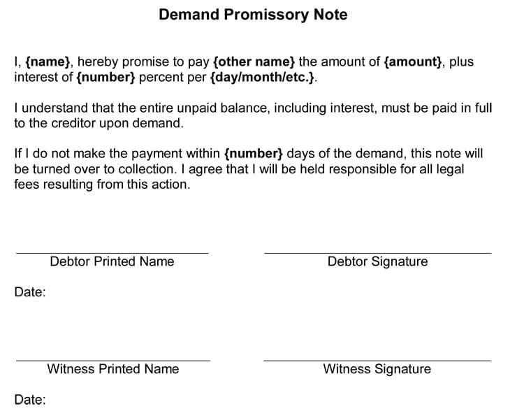 promissory note sample letter