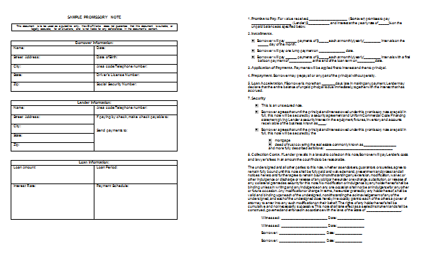 Preview For Promissory Note Template And Sample  Note Template