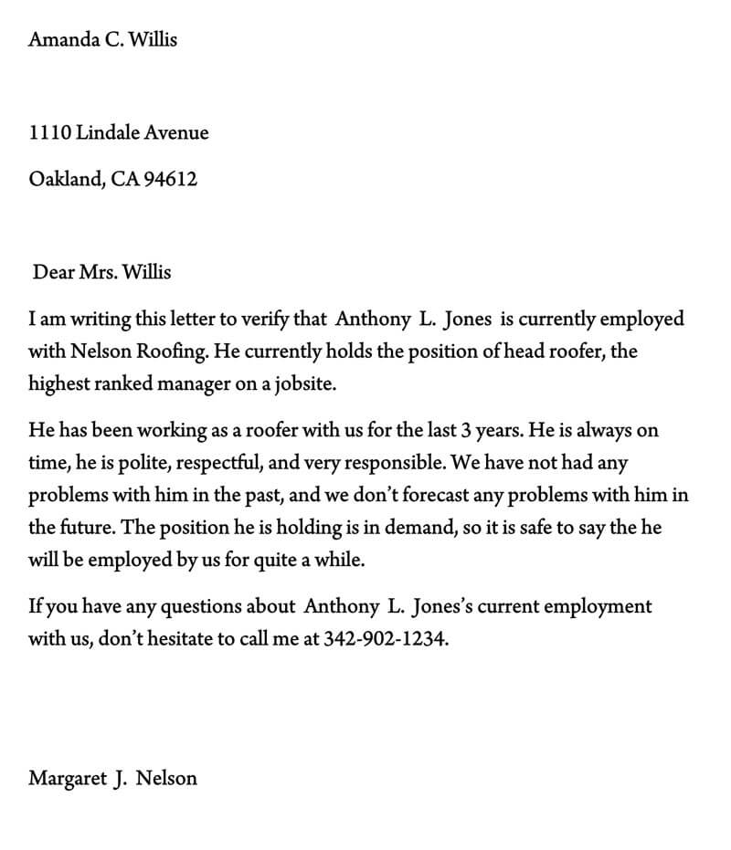 Proof of Employment Letter Template 05
