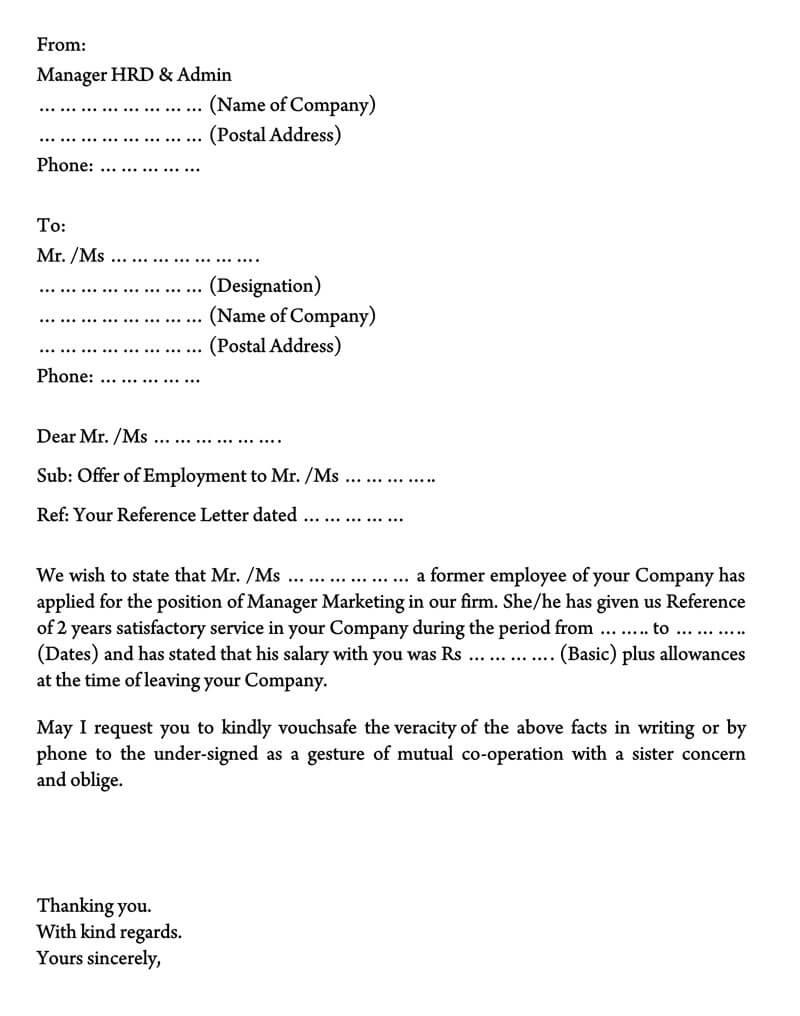 Proof of Employment Letter Template 06