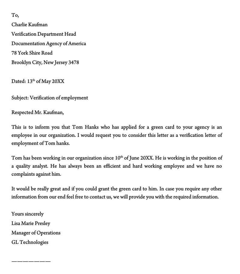 Proof of Employment Letter Template 10