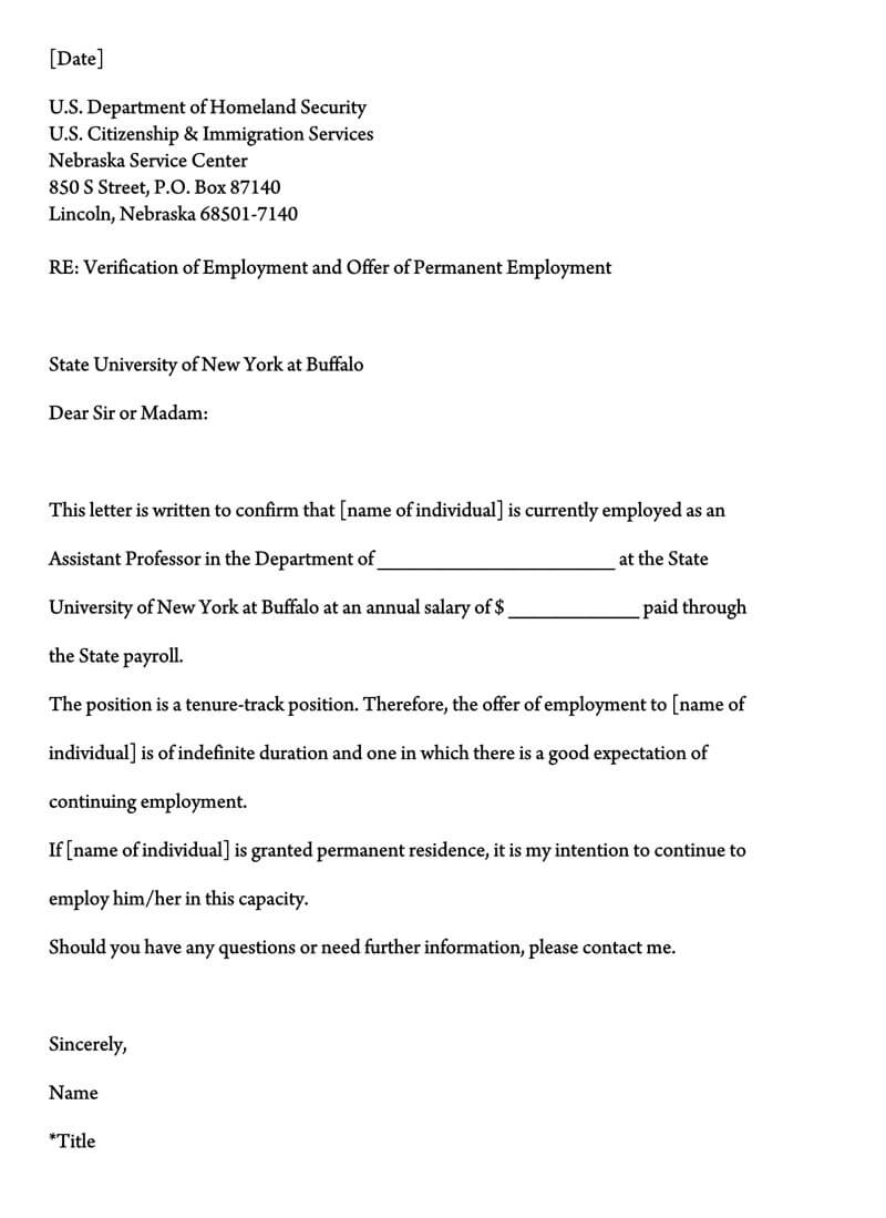 Proof of Employment Letter Template