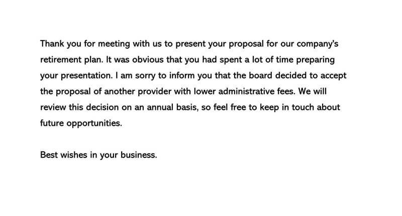 Proposal or Bid Rejection Letter 02