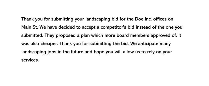 Proposal or Bid Rejection Letter 03