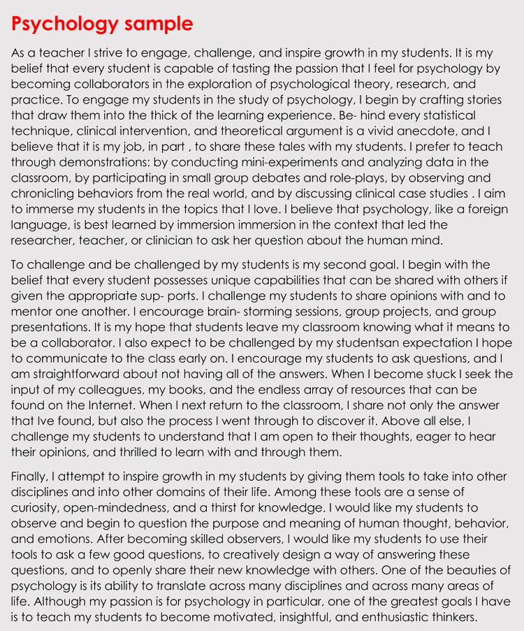 editable psychology teaching statement