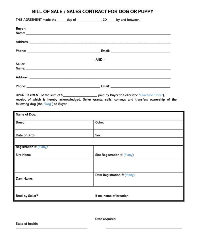 Puppy or Dog Bill of Sale Form 02