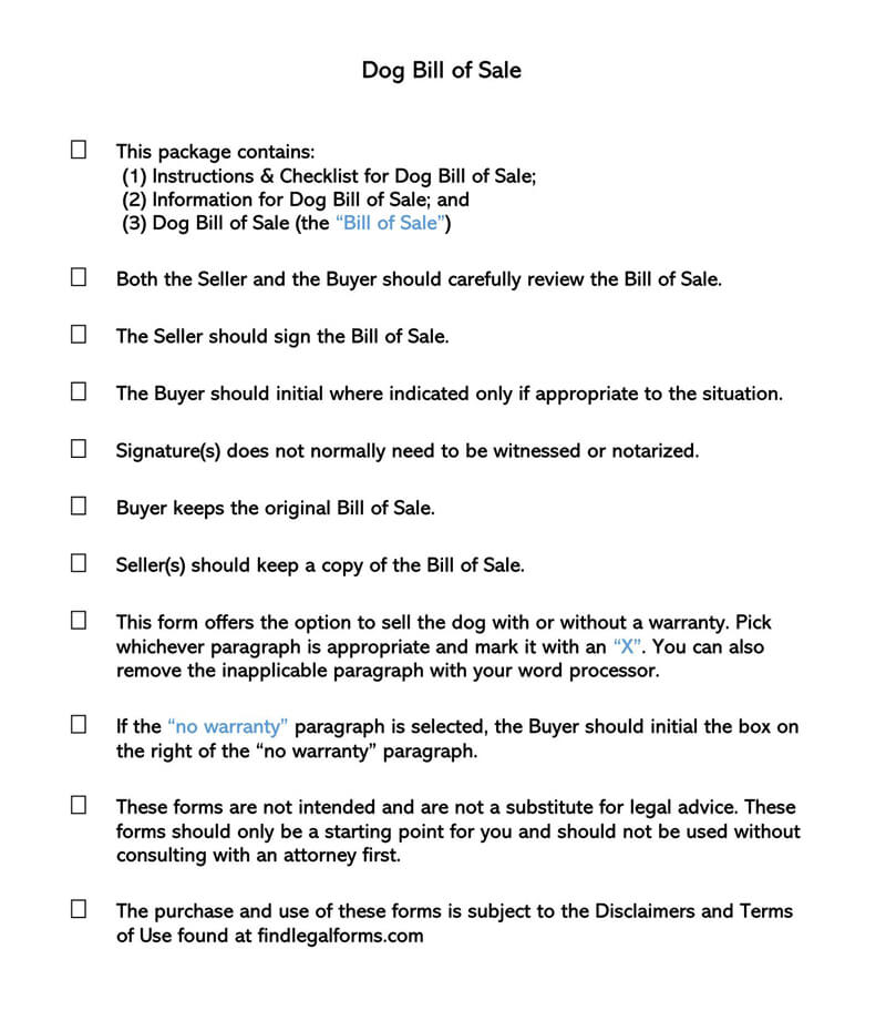 Puppy or Dog Bill of Sale Form 03