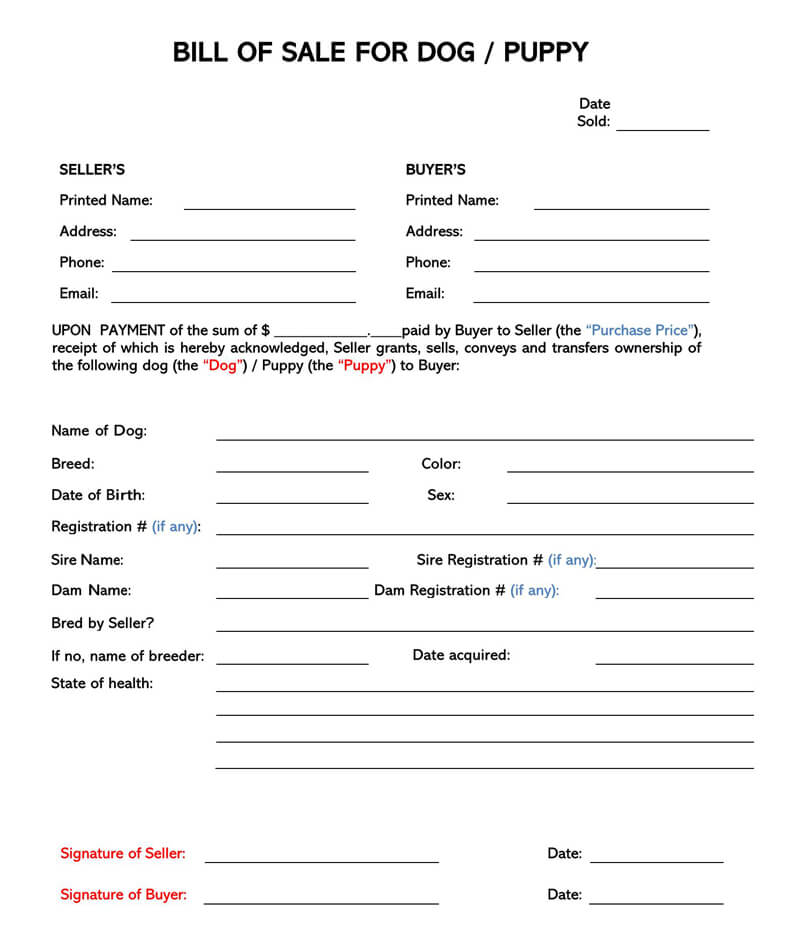 Puppy or Dog Bill of Sale Form 05