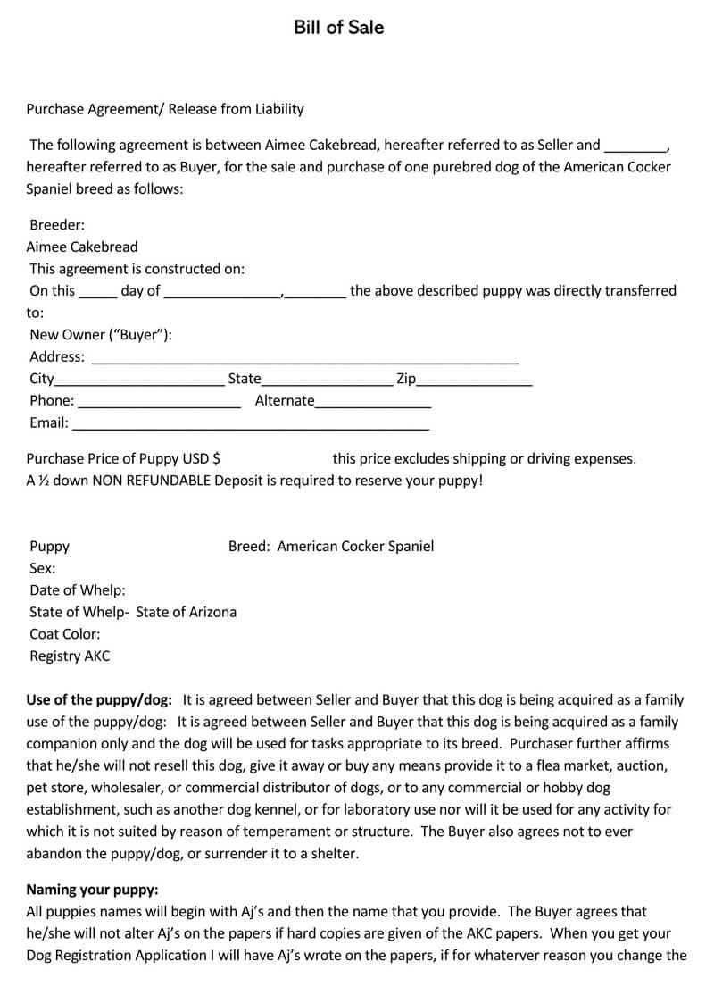 Puppy or Dog Bill of Sale Form 09