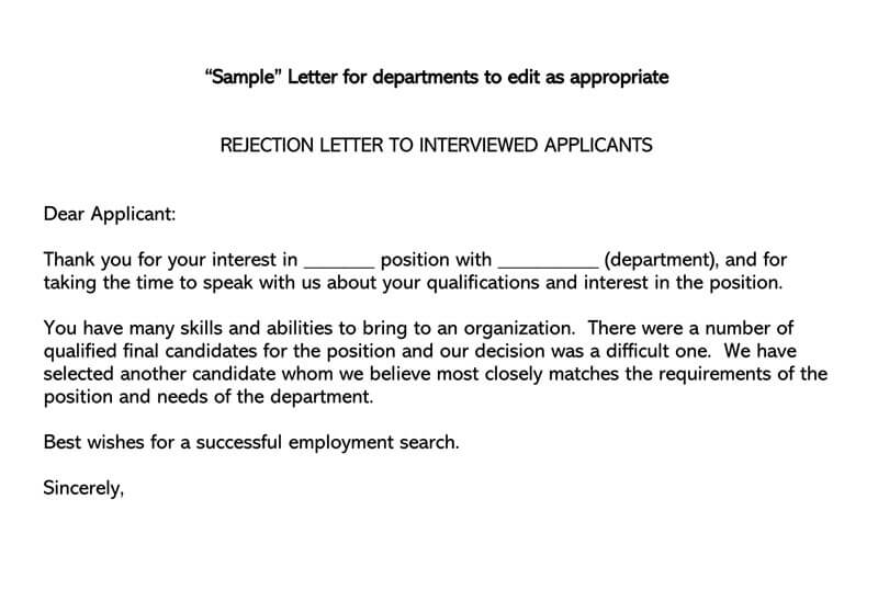 REJECTION LETTER TO INTERVIEWED APPLICANTS