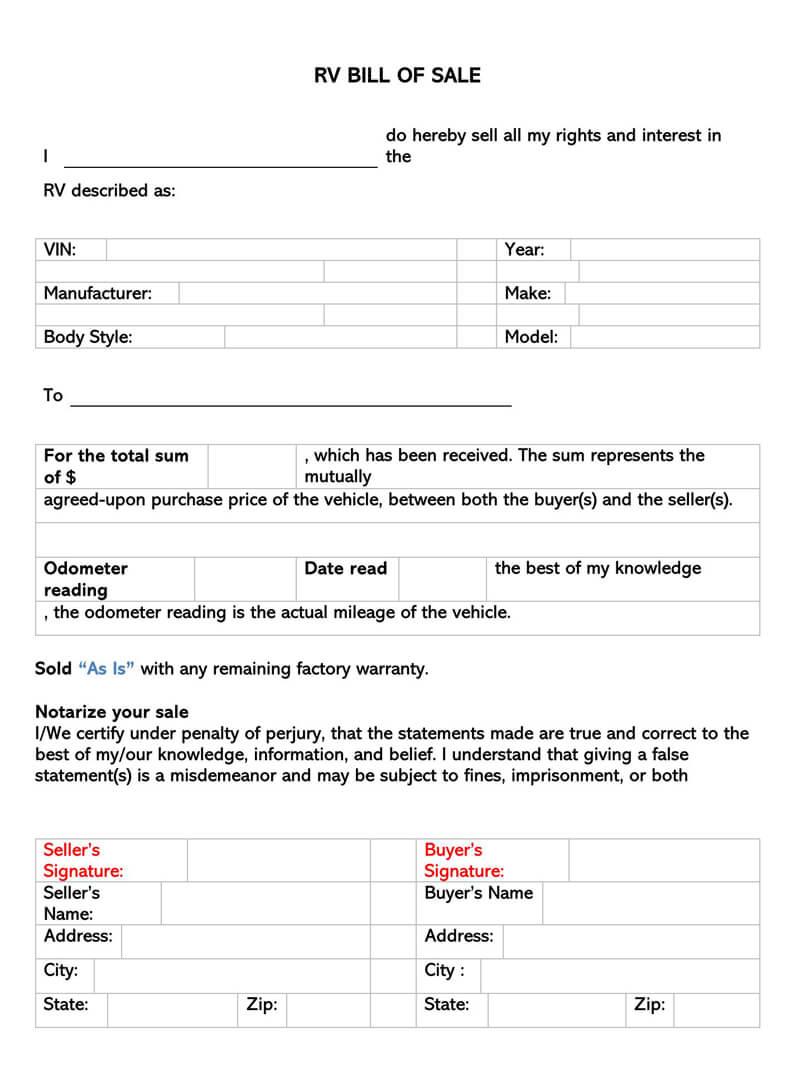 RV Bill of Sale Form 02