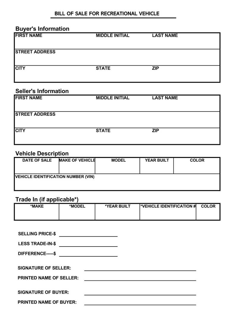 RV Bill of Sale Form 03