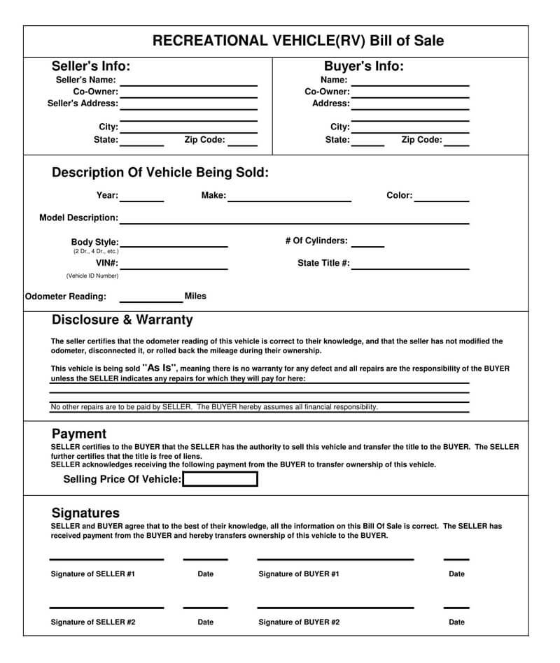 RV Bill of Sale Form 04