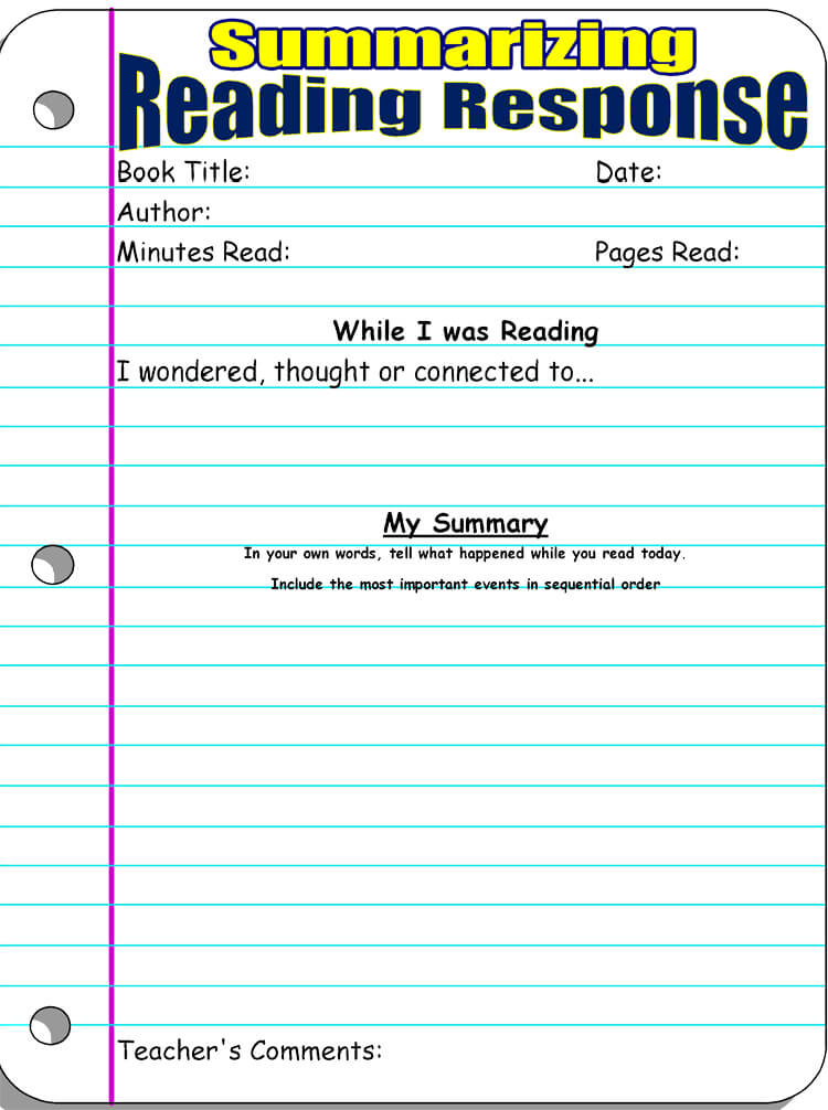 high school reading response worksheet