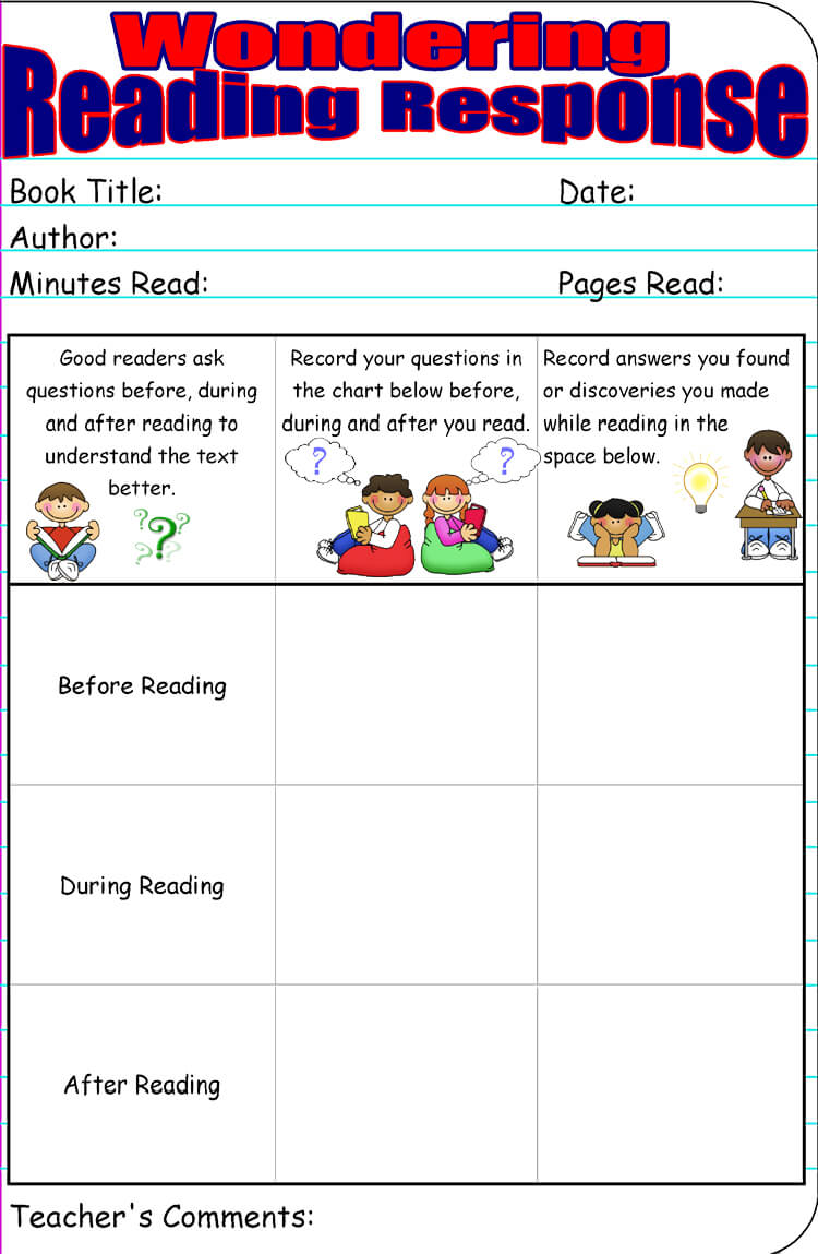 Free Reading Response Worksheet