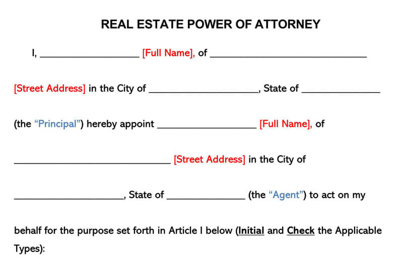 Real Estate POA Form
