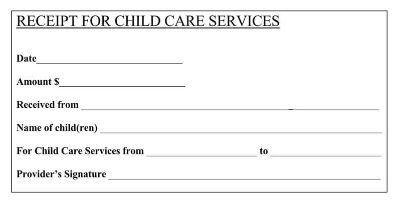 Receipt For Child Care Service PDF