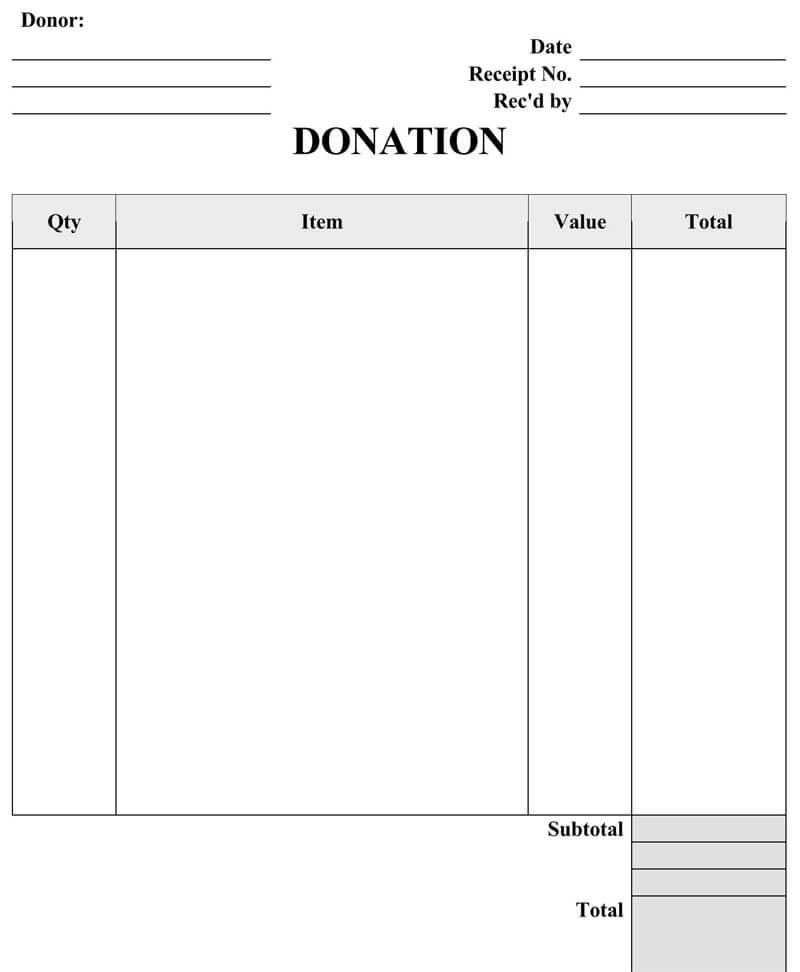 Receipt for Donation Cash