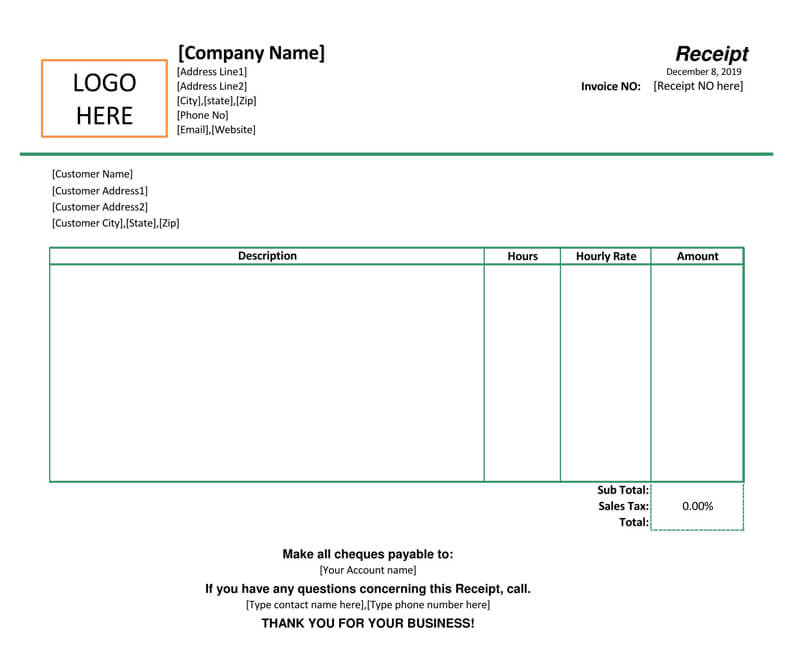 Receipt for Hourly Rate Template